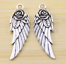 15/30/100 pcs Very beautiful Tibet silver roses wings charm pendant 31x11 mm