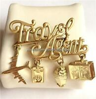 Gold Travel Agent Pin Brooch Plated Cruise Ship Airplane Tour Gift Box USA