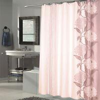 "Beautiful Flower Stripe Motif Extra Long Fabric Shower Curtain 84"" x 70"" Brown"