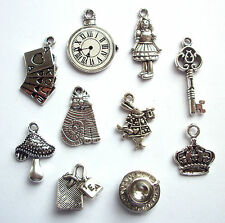 10 Alice in Wonderland Tea party Assorted Charms Silver Tone