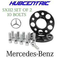 2pc 17mm Hub Centric Wheel Spacers 5x112 Audi 14x1.5 Chrome Lug Bolts 5 x 112