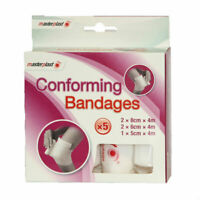 5pc Conforming Bandages 8cm 6cm & 5cm FirstAid Bandage Masterplast First Aid NEW