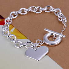 Wholesale Price 925Sterling Silver Lovely Heart Charm Thick Chain Bracelet H285