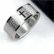Very cool cross Lord's prayer titanium band ring Size O