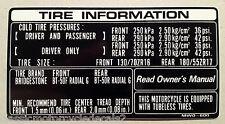 HONDA CBR900RR FIREBLADE TYRE CAUTION WARNING LABEL DECAL FIRST MODEL 1992