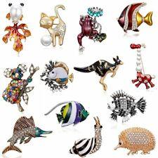 Crystal Rhinestone Enamel Fish Animal Brooches Pin Unisex Corsage Jewelry Gift