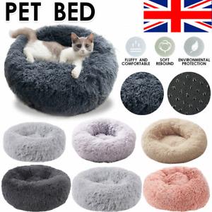 Pet Bed Dog Cat Bed Shag Warm Fluffy Comfy Round Nest Mattress Donut Pad Comfort