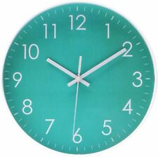 10 Inch Round Wall Clock Silent Non-ticking Epy Huts Livingroom Decorative Teal