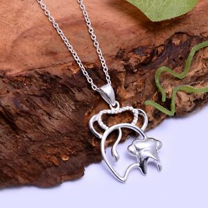 mother's day gift 925 silver cute elephants mother & Child pendant necklace