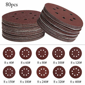 "80x 125mm - 5"" Sanding Discs 60 80 100 120 240 etc. Grit Kit Orbital Sander Pads"