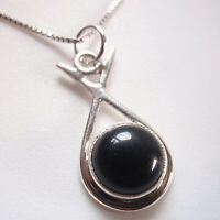 Small Round Black Onyx in Hoop 925 Sterling Silver Pendant