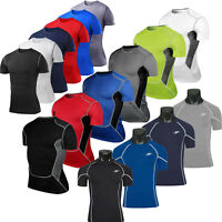 Mens Base Layer Tee Shirts Tops Athletic Sports Fitness GYM Compression T-Shirt