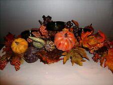 Thanksgiving Decoration Centerpiece Pumpkins,Gourds,Berries 3 Candle Holder