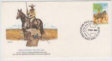 Stamp Australia 1980 Waltzing Matilda 22c squatter on USA Fleetwood cachet FDC