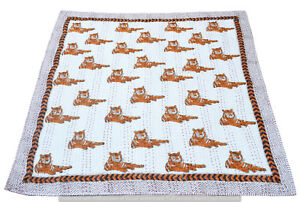 Baby Quilt Kantha Indian Hand Block Tiger Print Blanket Unisex Baby Bedding Art