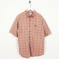Vintage CARHARTT Small Pocket Logo Short Sleeve Check Shirt Orange Large L