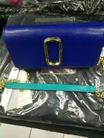 Marc Jacobs Snapshot Leather Chain Wallet, CYCLAMEN / ACADEMY Blue & Gold chain