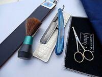 Leather Strope & RAZOR  STRAIGHT CUT THROAT/Damascus Steel & Ear/Nose Scissors