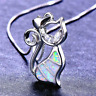 Fashion 925 Silver Jewelry Cat White Fire Opal Charm Pendant Necklace Chain NEW