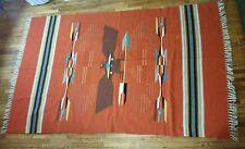 Estate 1940's Vintage Wool Navajo Hawk Eagle Blanket Native American Indian Rug