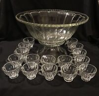 Vintage Heisey Glass Punch Bowl Scalloped Edge w/Stand & 16 Cups - See Pics
