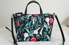 Kate Spade Watson Lane Black Floral Hummingbird Tote Shopper Purse
