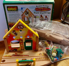 New open box Retired Brio Richard Scarry BusyTown Train Station Wooden Railway