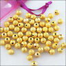 40 New Charms Loose Round Ball Copper Brushed Spacer Beads Gold Plated 4mm