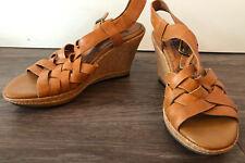 INDIGO BY CLARK Women's Tan Leather Wedge Sandal Heels Size 7.5