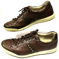 ECCO Men US12 12.5 EU46 UK 11.5/12 Sneakers Golf Shoes Leather Brown Lace-Up