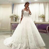 Lace Satin 3/4 Sleeves Ball Gown Wedding Dresses Sweep Train Plus Size Custom