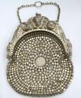 Antique W   D Art Nouveau Repousse Lady Sterling Silver Chain Mesh Coin Purse