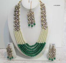 Indian Necklace Set Tikka Rani Haar Diamonte Stone Wedding Style Women Jewellery