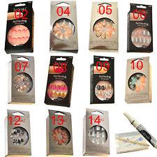 Full False Nail Womens Acrylic Manicure Glitter Fake French Tips Joblot 40 pcs