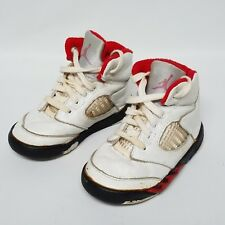 1990 NIKE AIR JORDAN 5 V Vintage Fire Red Leather Baby Infant Toddler Size 5