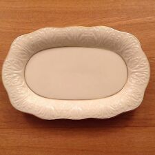 LENOX CHINA IVORY EMBOSSED OVAL SERVING PLATE DECORATED WITH 24K GOLD