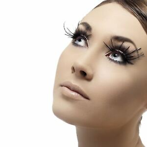 Adults Black Eyelashes Feather Plume False Fake Eyewear Fancy Dress Party Makeup