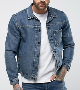 Levis Trucker Jacket Mens Line 8 Unisex Denim Muscle Wash Blue M CLEARANCE PRICE