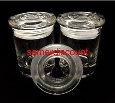 2 JARS, GLASS MEDICAL HERB STASH JARS ODOR LESS AIR TIGHT  THICK GLASS