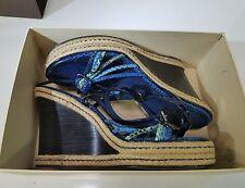 Louis Vuitton Paris blue snakeskin and jute wedge heel, strappy sandals