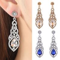 Women Bridal Silver Crystal Rhinestone Long Dangle Drop Earrings Wedding Jewelry