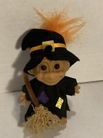 """Vintage Russ Troll Halloween Witch 25503 Collectible Figure 5"""" Tall Orange Hair"""