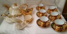 Vintage Pearl China Co Iridescent 22 K Gold Handled Tea Set RARE
