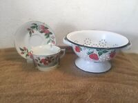 Vintage 1983 Teleflora Enamel Colander & Cup & Saucer Set /w Red Strawberries