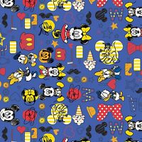 Blue Mickey Summer Fun Camelot 100% cotton fabric by the yard
