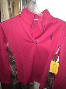 Browning Buckmark Womens Pink Fuschia 3/4 Quarter Zip Pullover Size XL