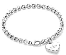 Gucci Trademark Engraved Heart Charm Silver Rhodium Plated Bracelet YBA356210001