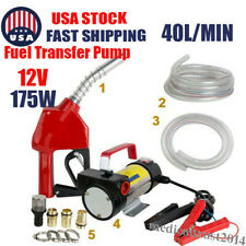 Portable Electric Fuel Transfer Pump Diesel Biodiesel Kerosene 12v 175w Nozzle
