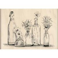Flower Bottle Row Wood Mounted Rubber Stamp by INKADINKADO 60-00513 NEW