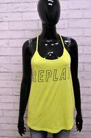 Maglia REPLAY Donna Taglia L Maglietta Top Shirt Woman Cotone Smanicato Giallo